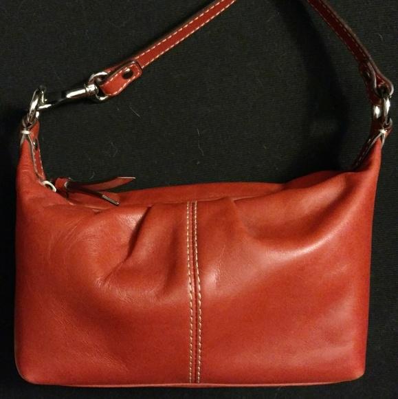 Coach orange leather mini handbag NWOT